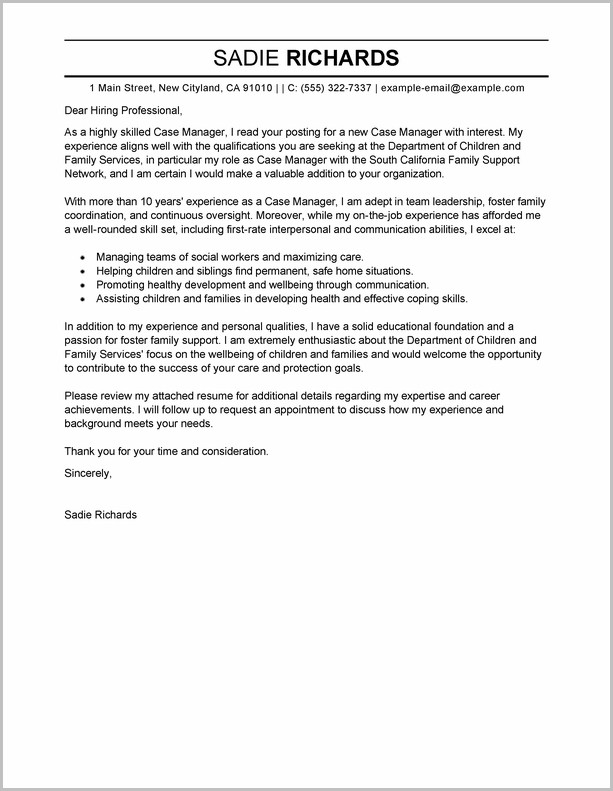 Example Of Cover Letter For Manager Resume