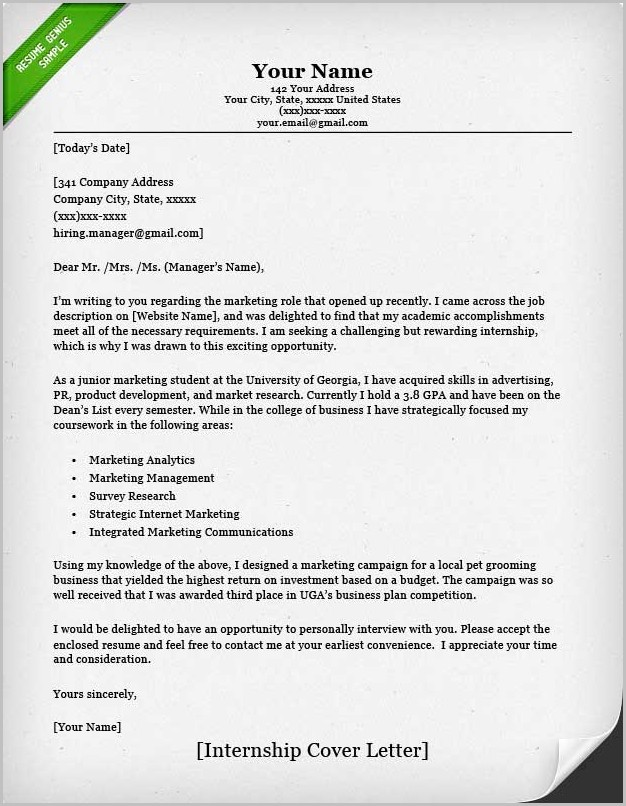 Example Of Cover Letter For Resume Internship