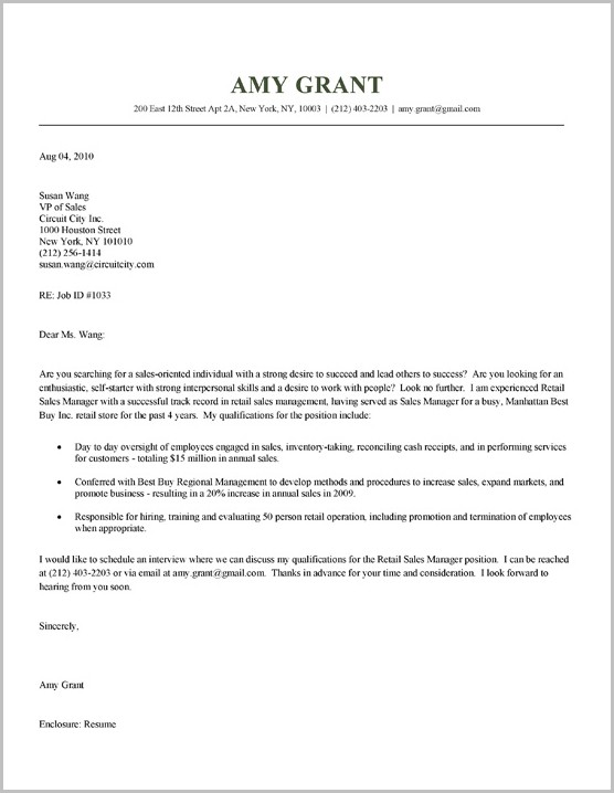 Example Of Cover Letter For Resume Sales