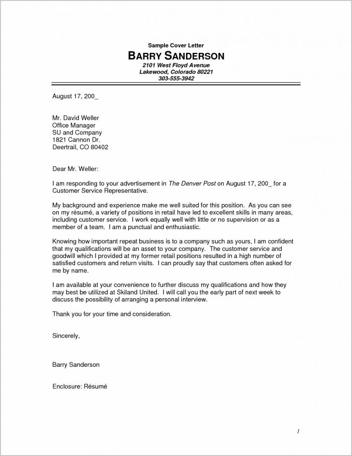 Example Of Cover Letter For Resume Without Experience