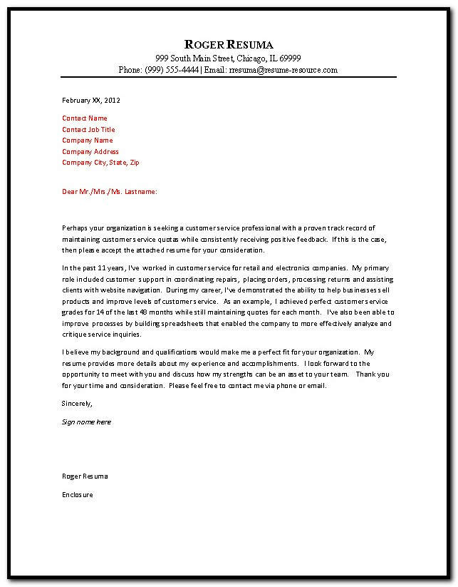Examples Of Cover Letter For Resume Customer Services
