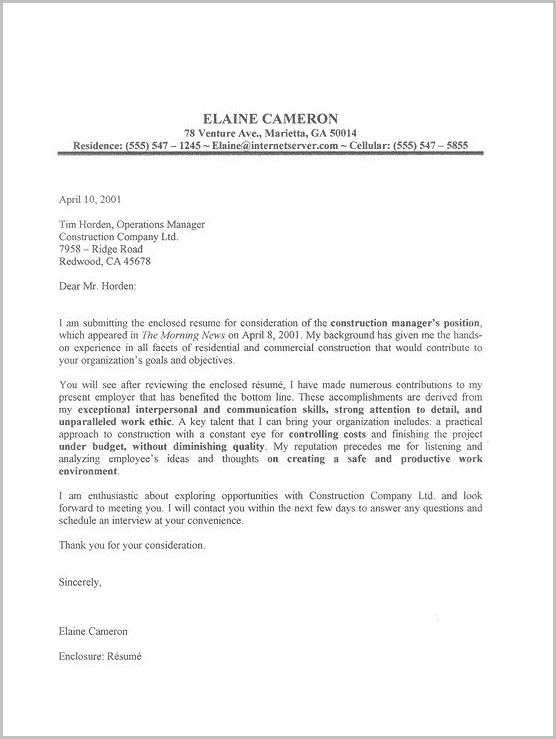 Examples Of Cover Letter In Resume