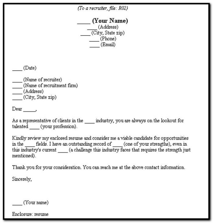 Fill In The Blank Cover Letter For Resume