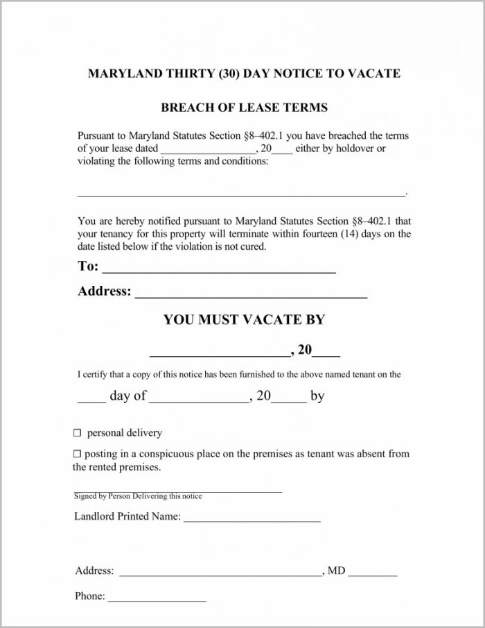 Free 30 Day Notice Of Eviction Form