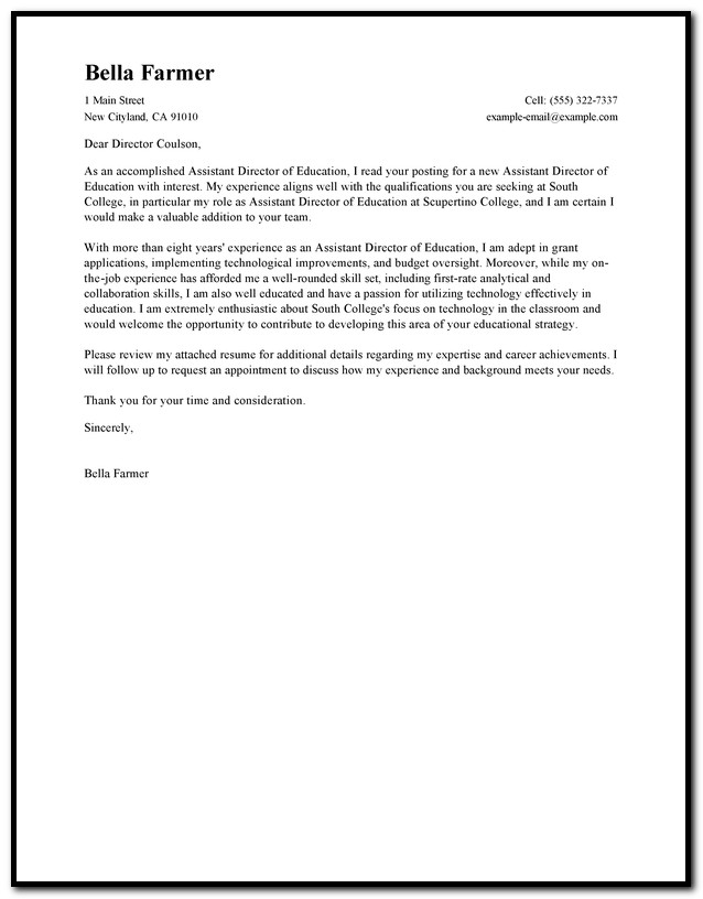 Free Cover Letter Examples For Teacher Assistant
