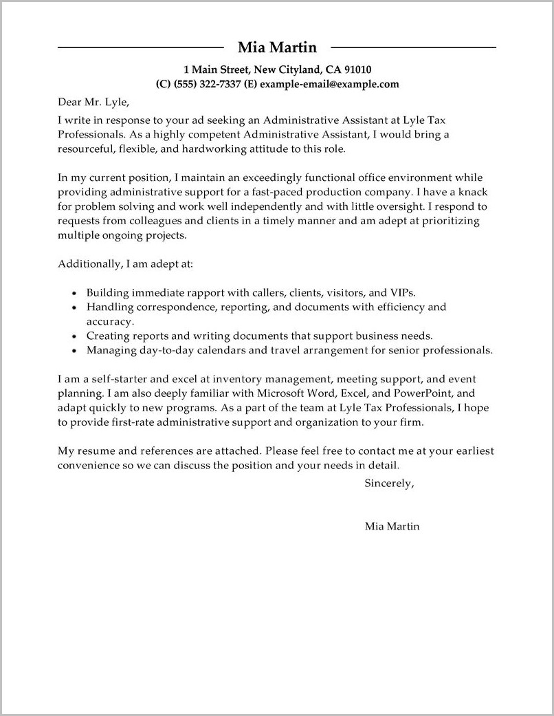 Free Cover Letter Sample For Administrative Assistant