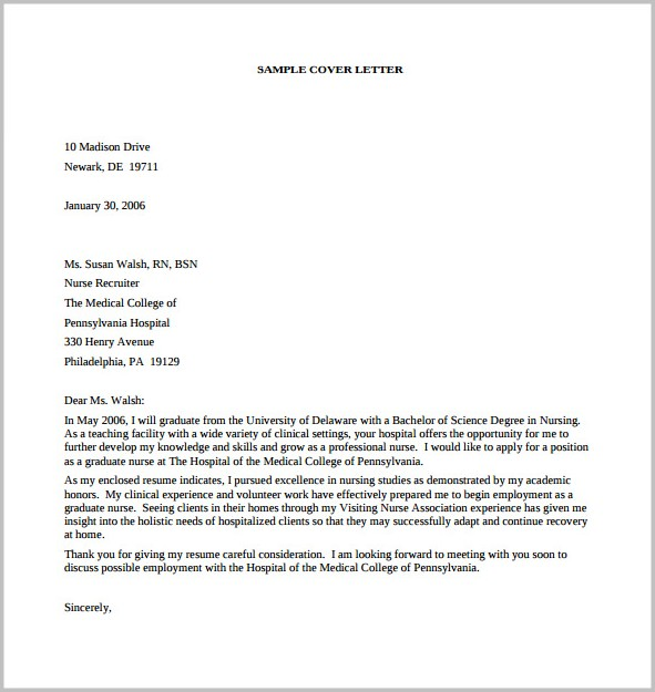 Free Download Sample Cover Letter For Resume