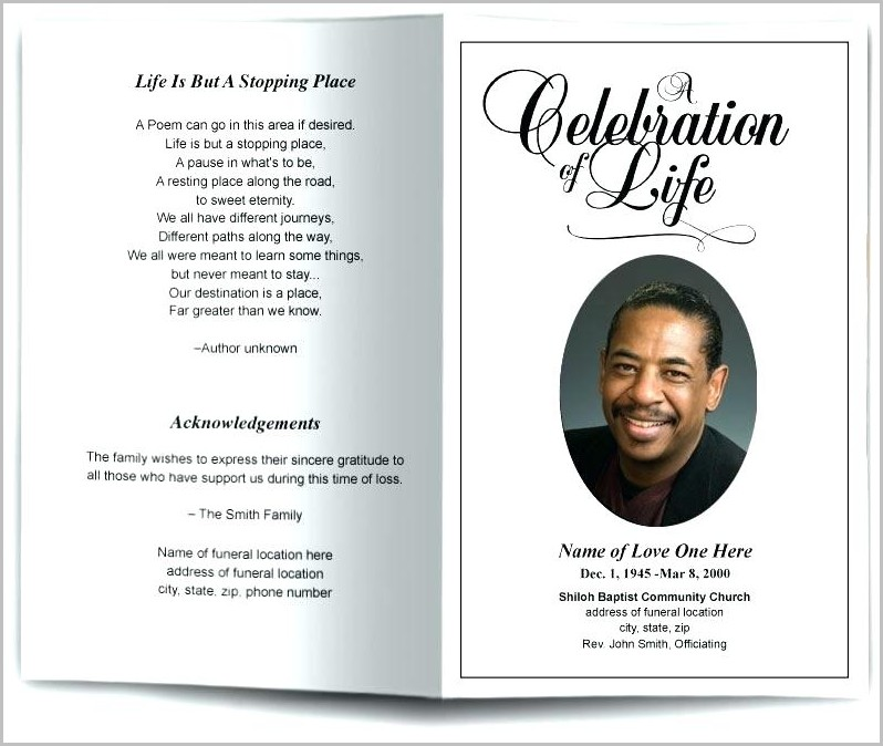 Free Funeral Program Template | Free Funeral Program Template For Microsoft Word Templates 1