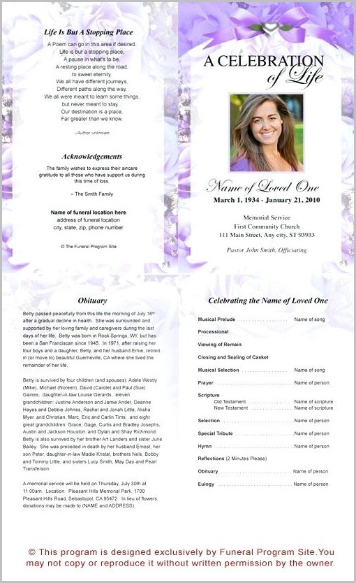 Free Funeral Program Template Microsoft Publisher