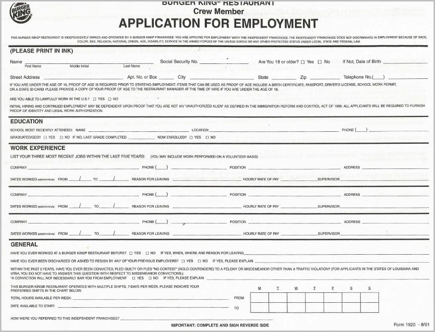 Free Printable Job Application For Walmart