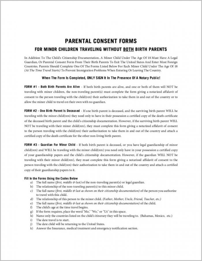 Free Printable Medical Consent Form For Minor Child