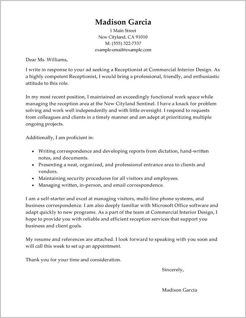 Free Receptionist Cover Letter Sample