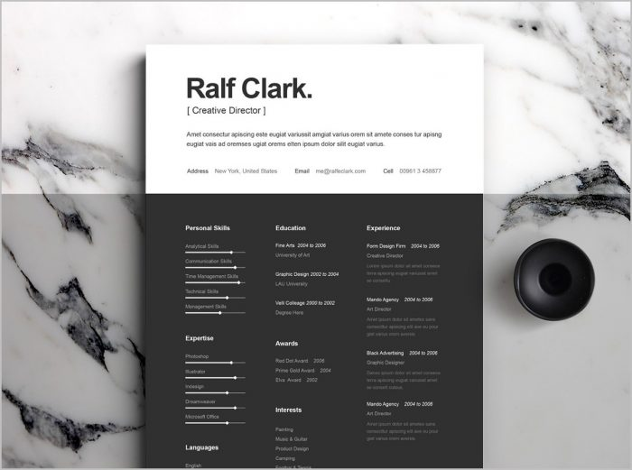 Free Resume Template Behance
