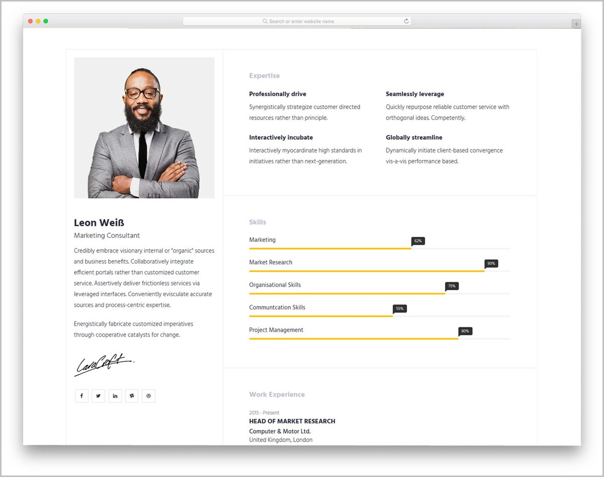 Free Resume Template Bootstrap
