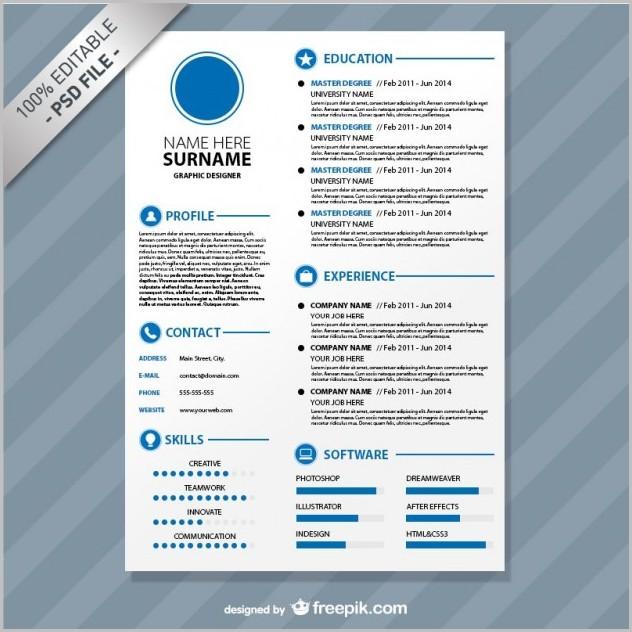 Free Resume Template Editable