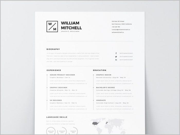 Free Resume Template Minimalist