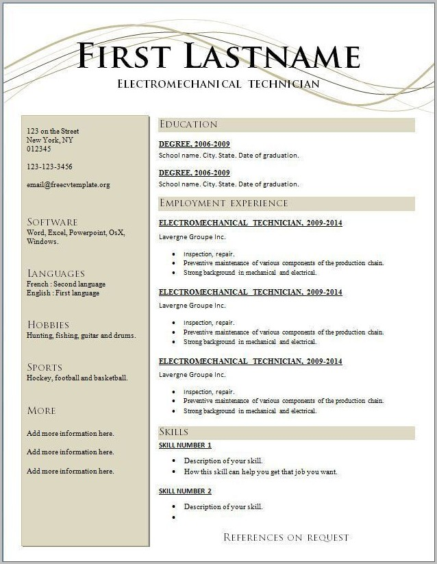 Free Resume Template Online Download