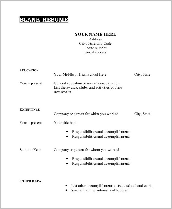 Free Resume Template Printable