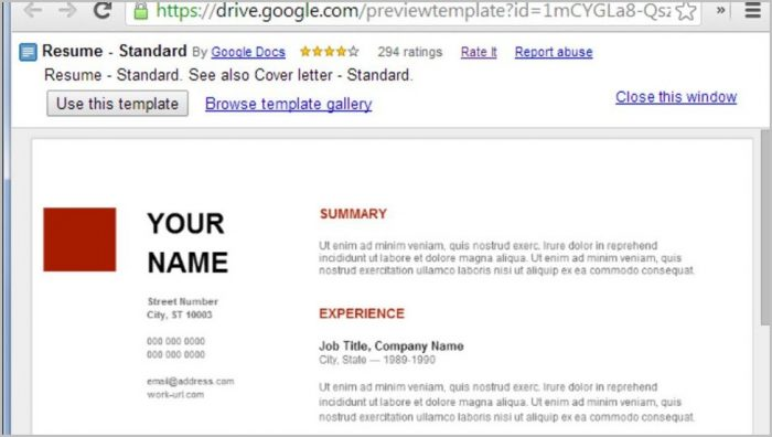 Free Resume Templates Google Drive