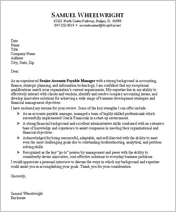 Free Sample Cover Letter Accounting Position