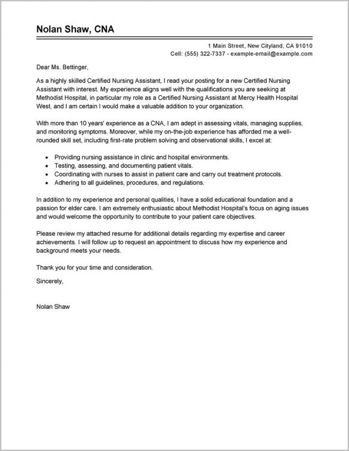 Free Sample Cover Letter Certified Nursing Assistant