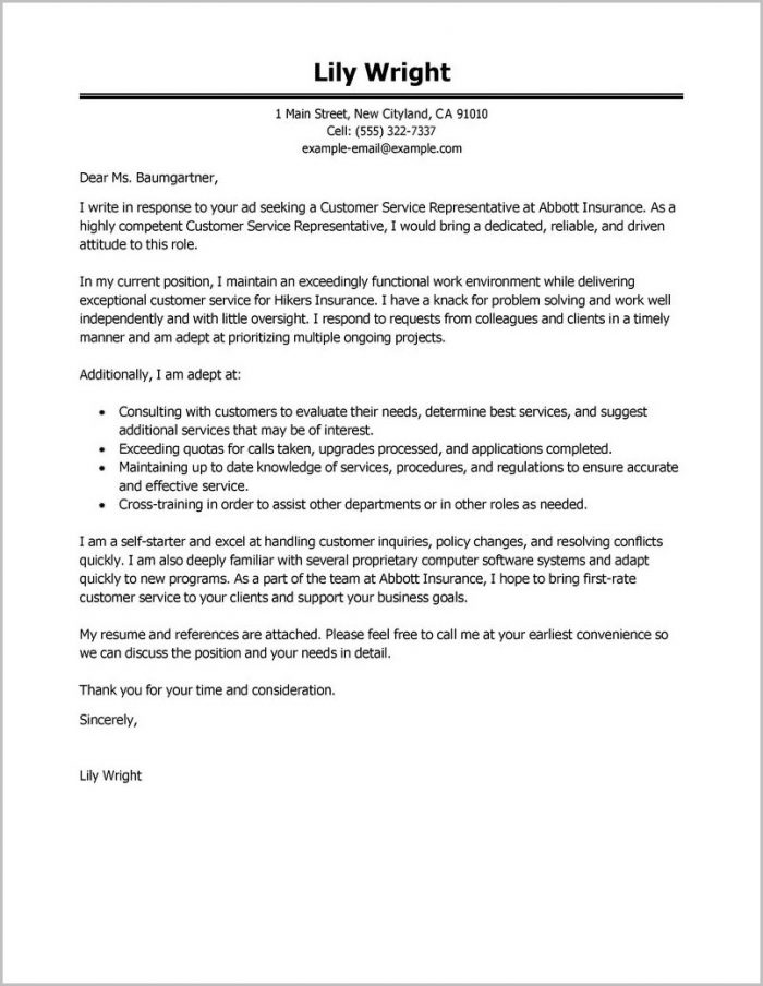 Free Sample Cover Letter Customer Service Representative