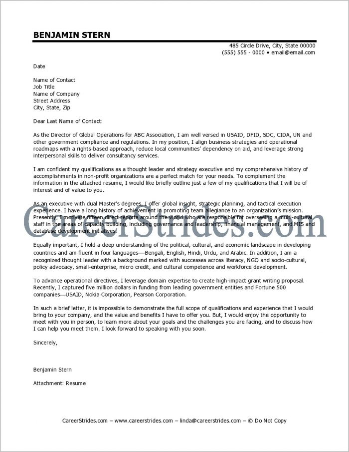 Executive Resume Cover Letter Template Cover-letter : Resume