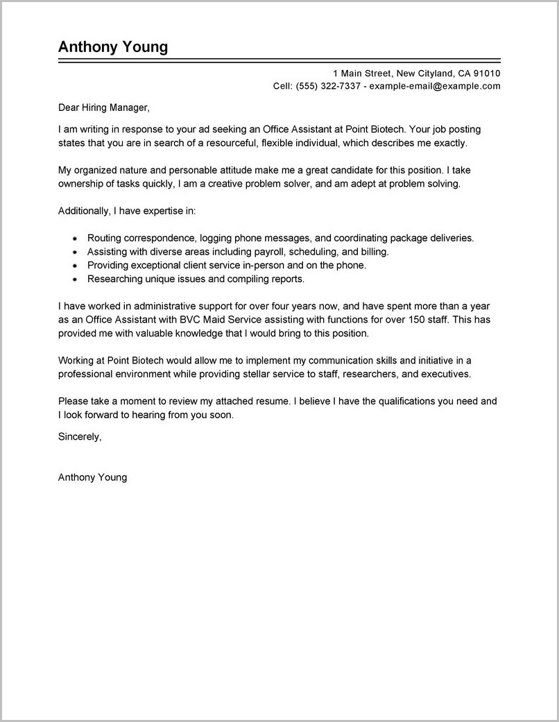 Free Sample Cover Letter For Office Assistant
