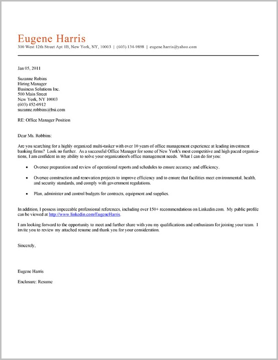 Free Sample Cover Letter For Office Manager