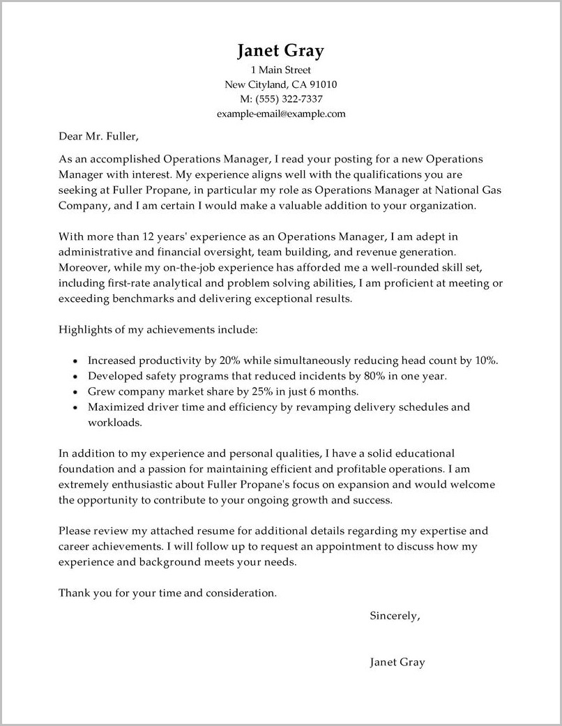 Free Sample Cover Letter For Operations Manager