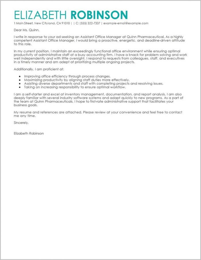 Free Sample Cover Letter For Secretary Position