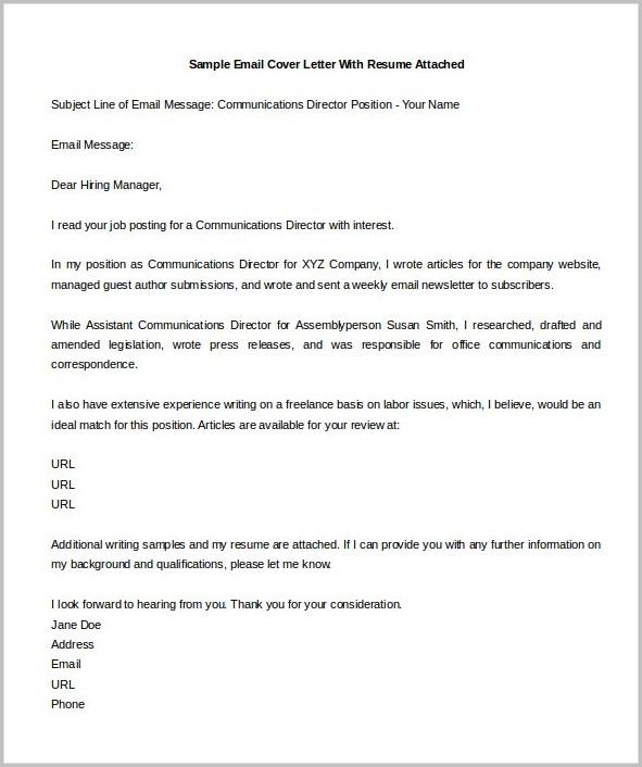 Free Sample Email Cover Letter For Resume