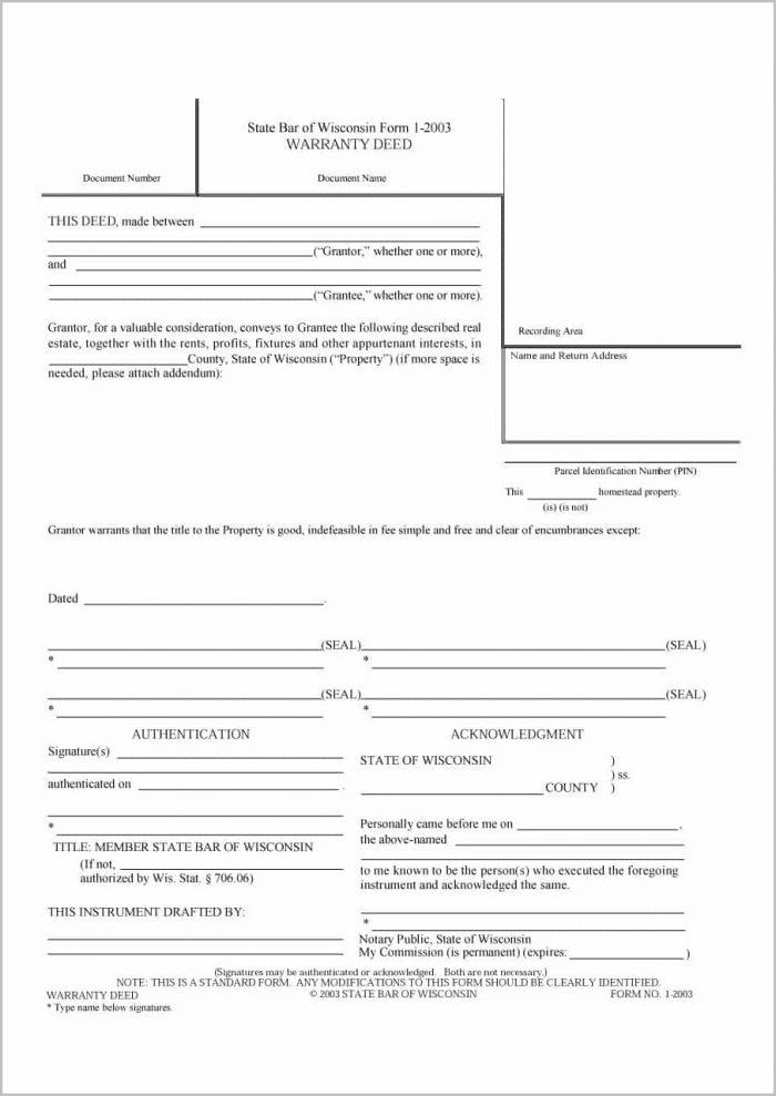 Free Warranty Deed Form Indiana
