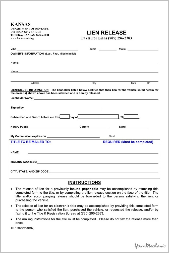 Georgia Lien Release Form Vehicle