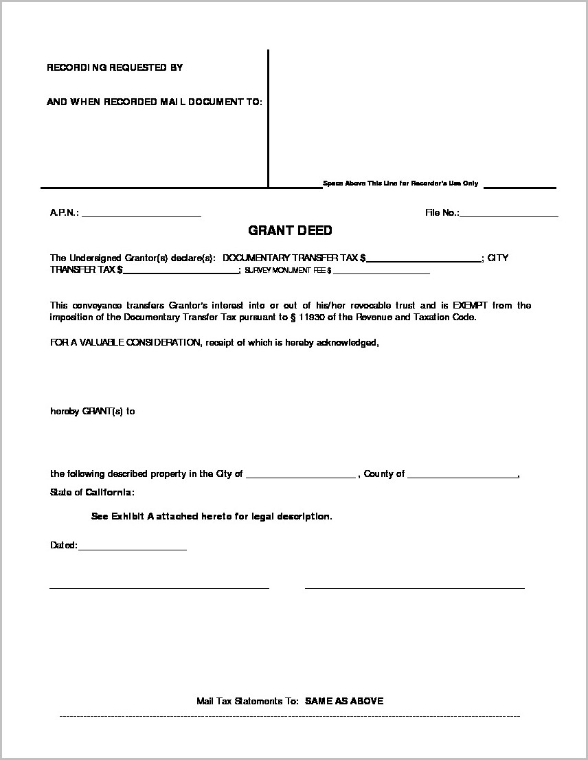 Grant Deed Form First American Title