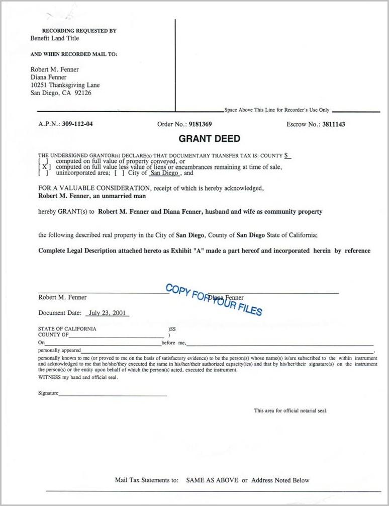Grant Deed Form For San Bernardino County