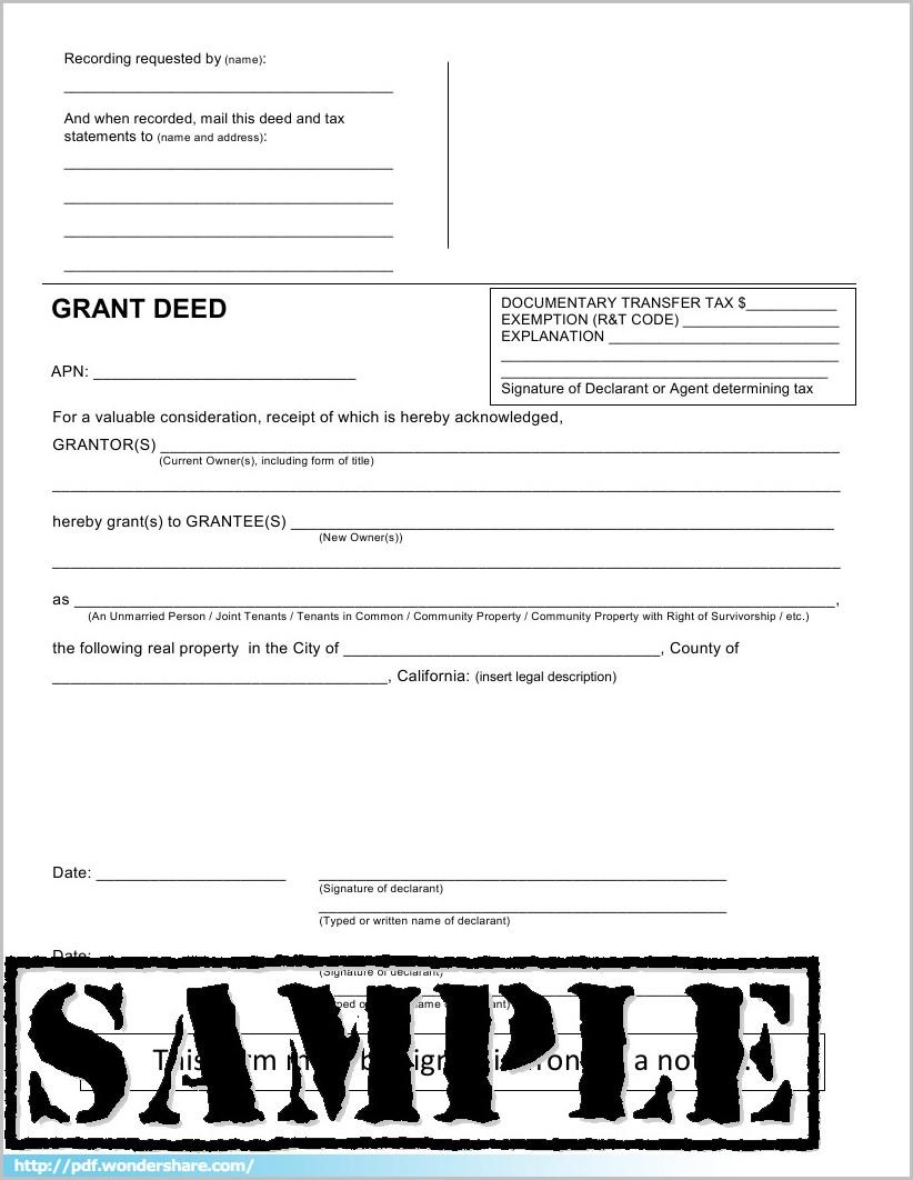 Grant Deed Form Pdf