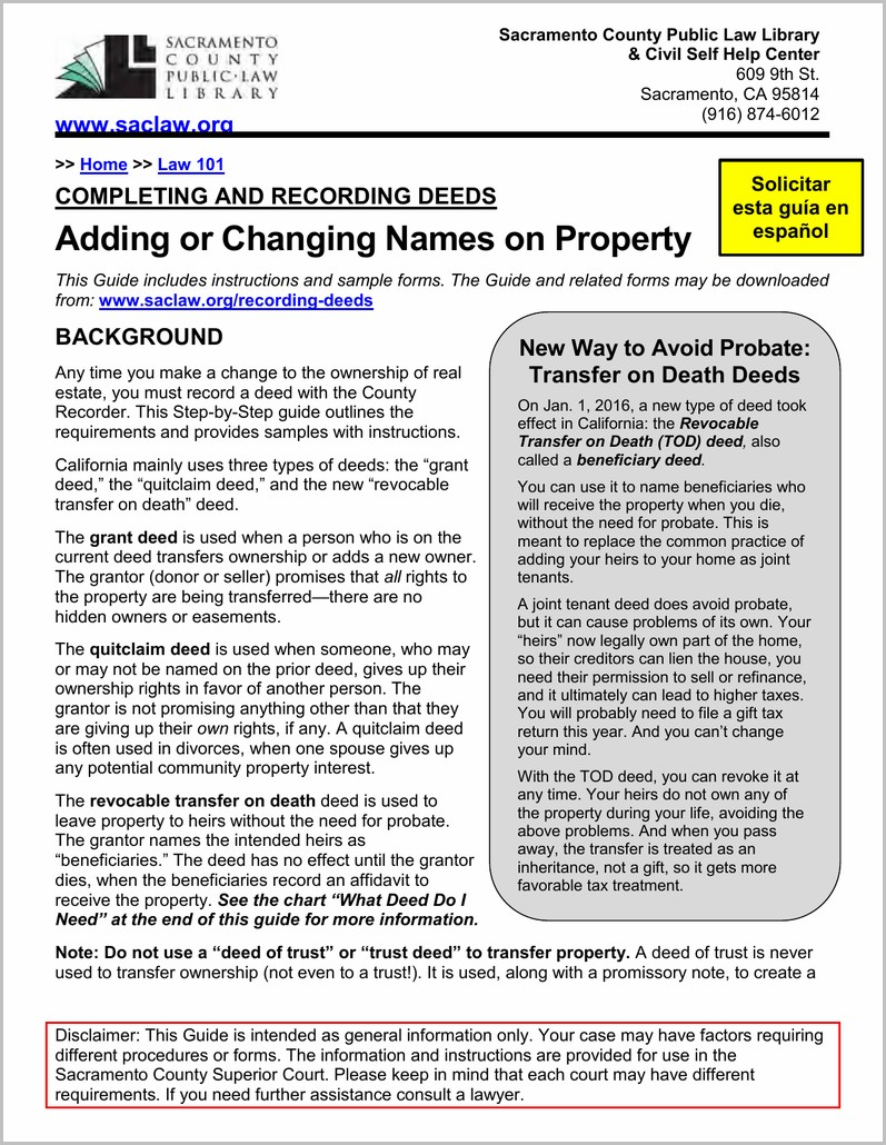 Grant Deed Form Sacramento County