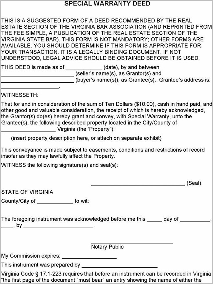 Grant Deed Form Virginia