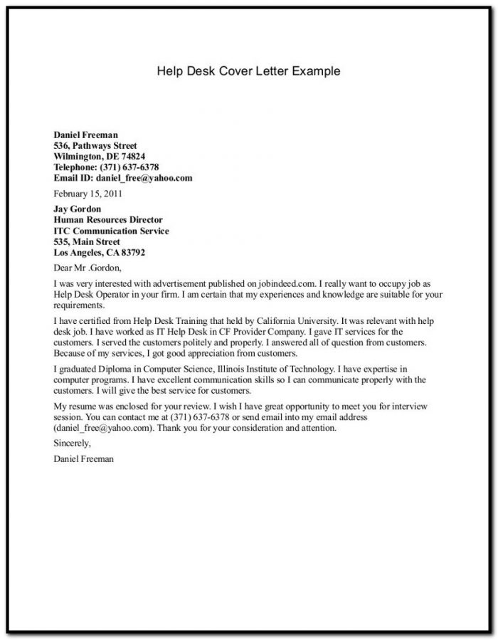 it help desk cover letter sample cover