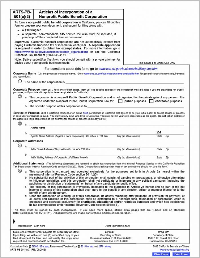 How To Form A 501c3 In California