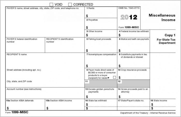Irs 1099 Form Blank