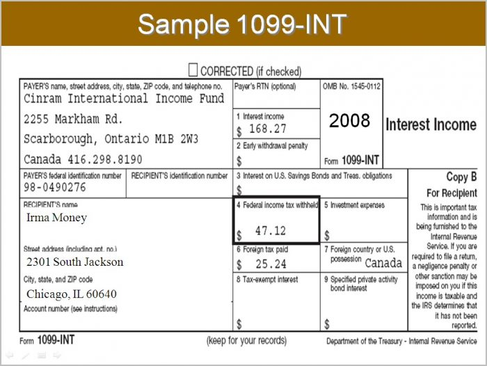 Irs 1099 Form Interest Income