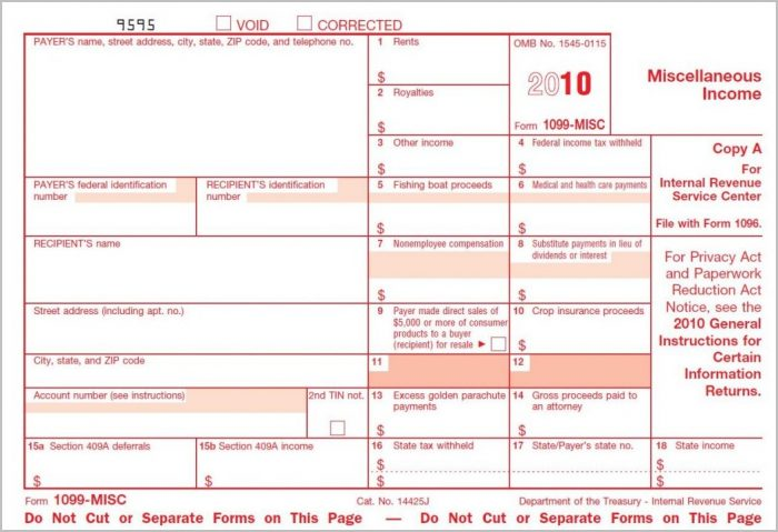 Irs 1099 Misc Forms Free