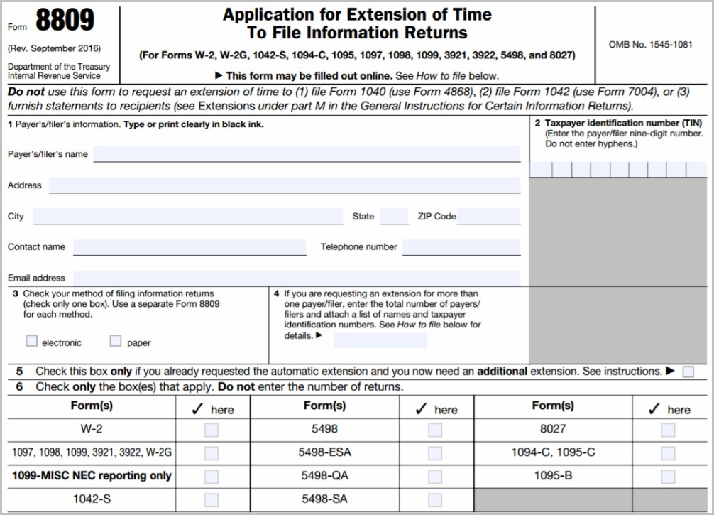 Irs Form 1099 Extension