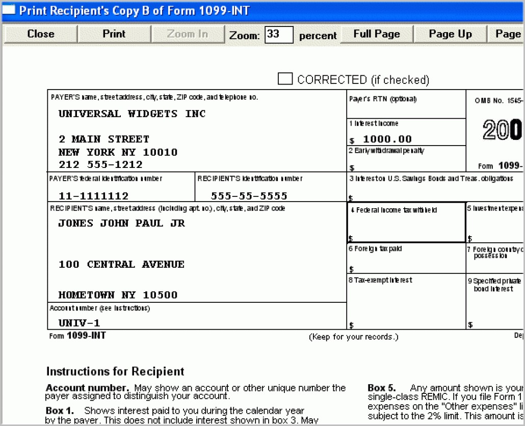Irs Form 1099 Int Instructions Form Resume Examples