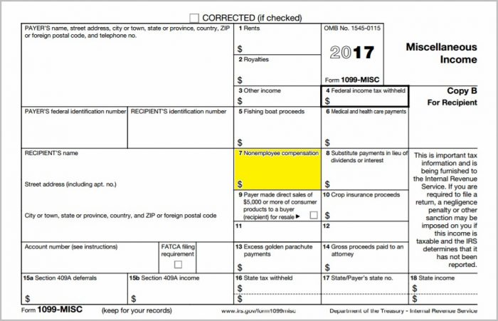 Irs Form 1099 Non Employee Compensation