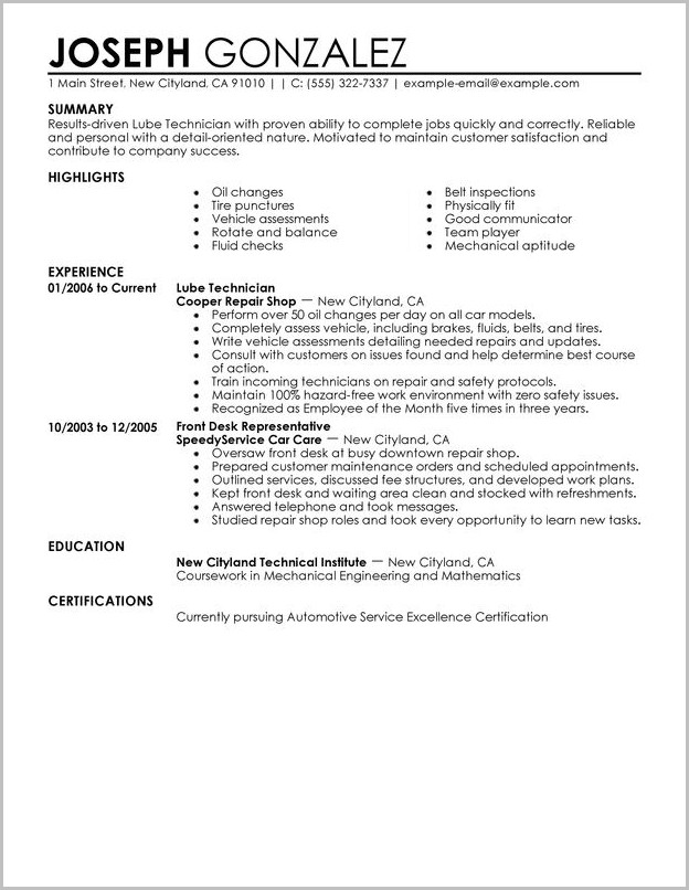 Jiffy Lube Job Requirements