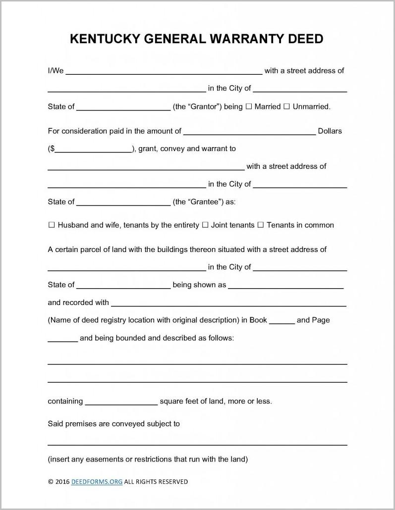 Kentucky Warranty Deed Form