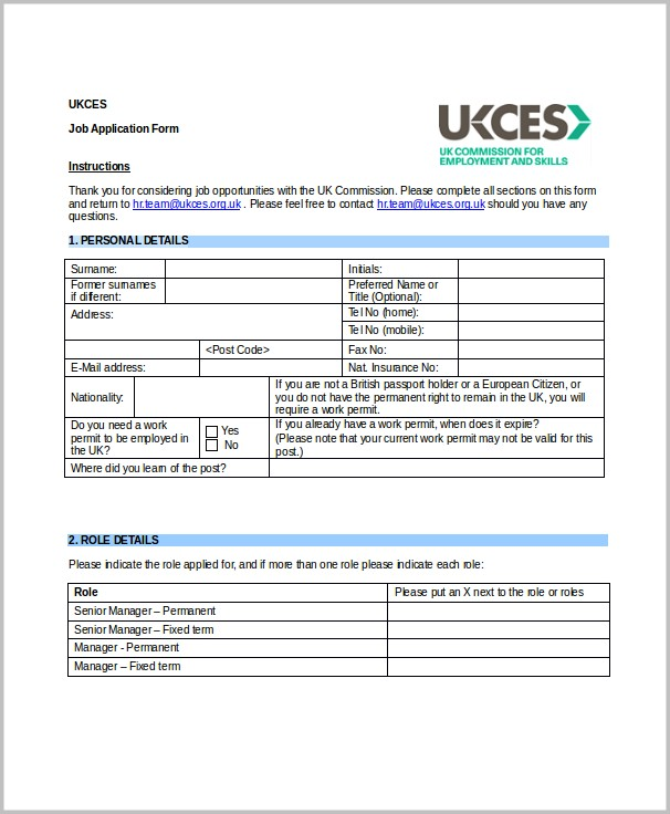 Printable Job Application Form For Kroger Job-applications